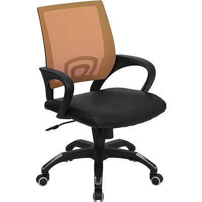 Flash Furniture Mid Back Mesh Computer Chair With Black Leather Seat, Orange