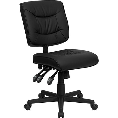 Flash Furniture Mid Back Leather Multi-Functional Task Chair, Black