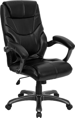 Flash Furniture 18 - 21.5''H High Back Leather Overstuffed Executive Office Chair, Black
