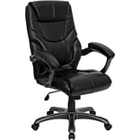 Flash Furniture 18 - 21.5H High Back Leather Overstuffed Executive Office Chair, Black