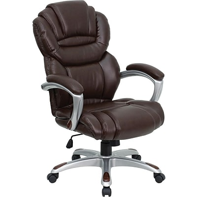 Flash Furniture High Back Split Leather Executive Office Chair With Padded Loop Arms, Brown