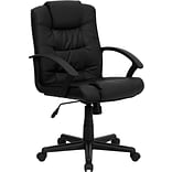 Flash Furniture Mid Back Leather Office Chair With Nylon Loop Arms, Black