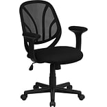 Flash Furniture Mid Back Mesh Computer Task Chair With Arms, Black