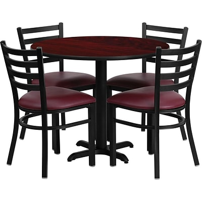 Flash Furniture 36 Mahogany Laminate Table Set With 4 Ladder Back Metal Chairs, Burgundy