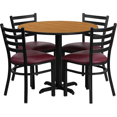 Flash Furniture 36 Natural Laminate Table Set With 4 Ladder Back Metal Chairs, Burgundy