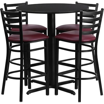 Flash Furniture 30 Black Laminate Table Set With 4 Ladder Back Metal Bar Stools, Burgundy