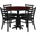 Flash Furniture 36 Mahogany Laminate Table Set With 4 Ladder Back Metal Chairs, Black