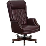 Flash Furniture High-Back Executive Leather Chair, Fixed Arms, Burgundy