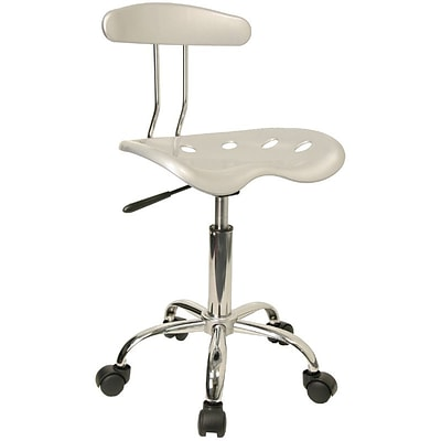Flash Furniture Chrome Low Back Computer Task Chair With Tractor Seat, Vibrant Silver