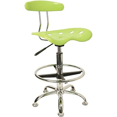 Flash Furniture Chrome Low Back Drafting Stool With Tractor Seat, Vibrant Apple Green
