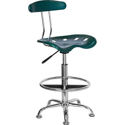 Flash Furniture Low Back Polymer Drafting Stool With Tractor Seat, Vibrant Green