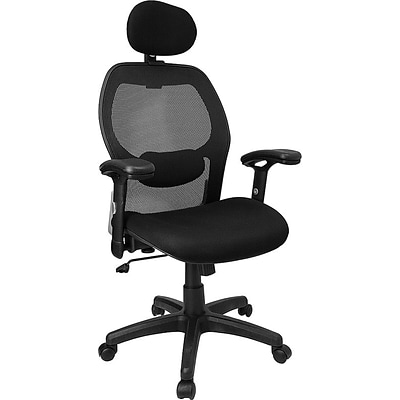 Flash Furniture High Back Super Mesh Office Chair With Fabric Seat, Black