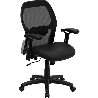 Flash Furniture Mid Back Super Mesh Office Chair With Black Italian Leather Seat, Black