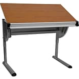 Flash Furniture 45 1/4 x 28 1/4 Melamine Adjustable Drawing & Drafting Table w/Pewter Frame