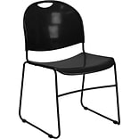 Flash Furniture HERCULES™ Polypropylene Black Frame Ultra Compact Stack Chair, Black