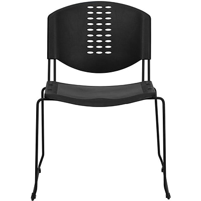 Flash Furniture HERCULES™ 400 lbs. Plastic Powder Coated Frame Stack Chair, Black