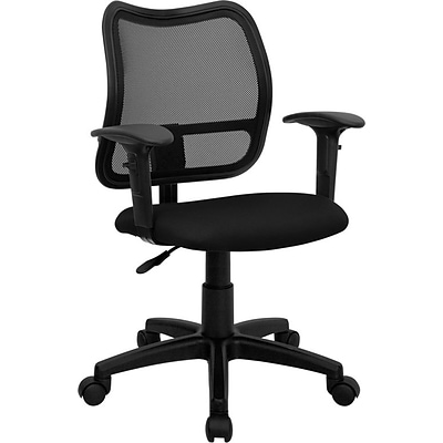 Flash Furniture Mid Back Mesh Task Chair With Fabric Seat and Arms, Black