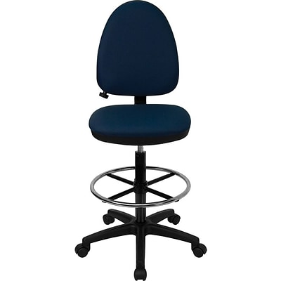 Flash Furniture Mid Back Fabric Multi-Functional Drafting Stool With Lumbar Support, Navy Blue