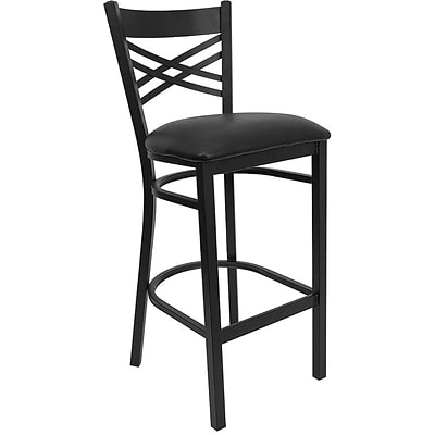 Flash Furniture HERCULES™ X Back Metal Restaurant Bar Stool, Black