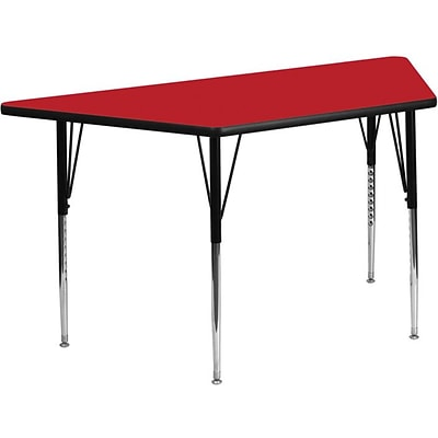 Flash Furniture 24W x 48L Trapezoid Laminate Activity Table w/Standard Adjustable Legs, Red