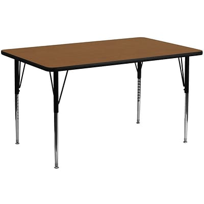 Flash Furniture 24W x 60L Rectangular Laminate Activity Table w/Standard Adjustable Legs, Oak