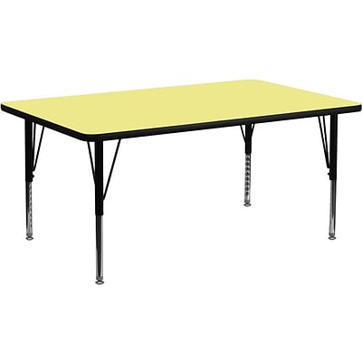 Flash Furniture 30W x 72L Trapezoid Laminate Activity Table w/Adjustable Pre-School Legs, Yellow