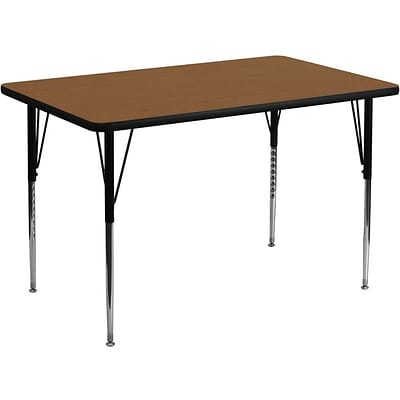Flash Furniture 36W x 72L Rectangular Laminate Activity Table w/Standard Adjustable Legs, Oak