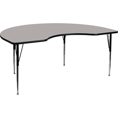 Flash Furniture 48W x 72L Kidney Shaped Laminate Activity Table w/Standard Adjustable Legs, Gray
