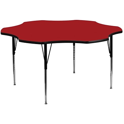 Flash Furniture 60 Flower Shaped Laminate Activity Table w/Standard Adjustable Legs, Red