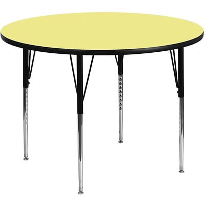 Flash Furniture 60 Round Laminate Activity Table w/Standard Height Adjustable Legs, Yellow