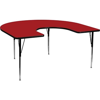 Flash Furniture 60W x 66L Horseshoe Laminate Activity Table w/Standard Adjustable Legs, Red