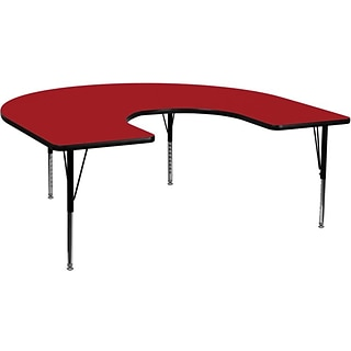 Flash Furniture 60W x 66L Horseshoe Laminate Activity Table w/Adjustable Pre-School Legs, Red