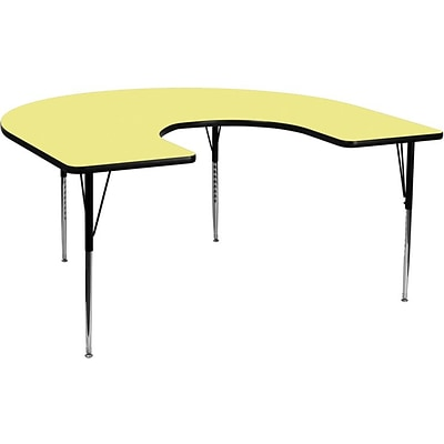 Flash Furniture 60W x 66L Horseshoe Laminate Activity Table w/Standard Adjustable Legs, Yellow