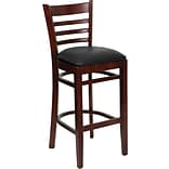 Flash Furniture HERCULES™ Ladder Back Mahogany Wood Restaurant Bar Stool, Black