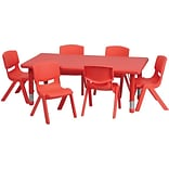 Flash Furniture 24W x 48L Height Adjustable Rectangular Plastic Activity Table Set, Red