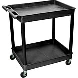 Luxor® TC Series 37 1/4(H) 2 Shelves Large Tub Cart, Black