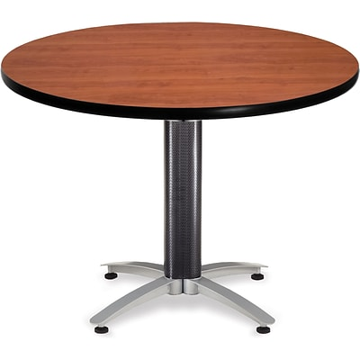 OFM 29 1/2 x 42 x 42 Round Laminate Mesh Base Multi-Purpose Table, Cherry