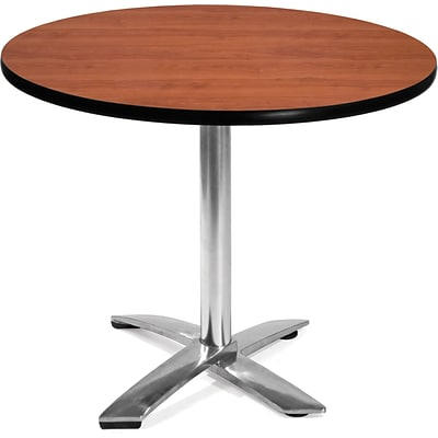 OFM 29 1/2 x 35 3/4 x 35 3/4 Round Laminate Flip-Top Multi-Purpose Table, Cherry