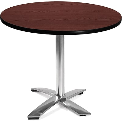 OFM 29 1/2 x 35 3/4 x 35 3/4 Round Laminate Flip-Top Multi-Purpose Table, Mahogany