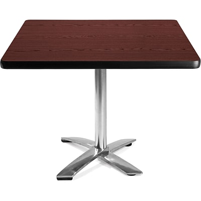 OFM 29 1/2 x 42 x 42 Square Laminate Flip-Top Multi-Purpose Table, Mahogany