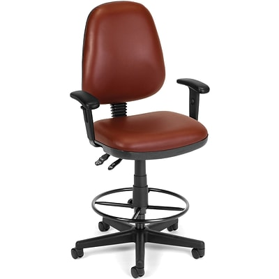 OFM Straton Vinyl Task Chair With Arms and Drafting Kit; Wine