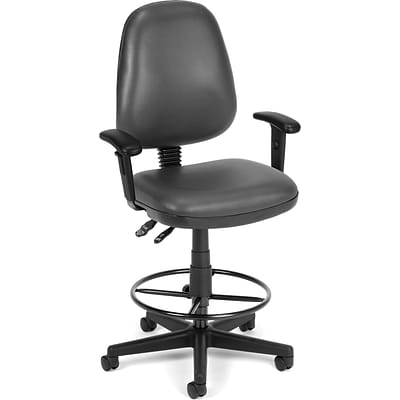 OFM Straton Vinyl Task Chair With Arms and Drafting Kit; Charcoal