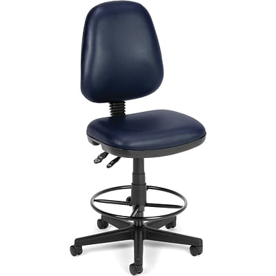 OFM Straton Vinyl Task Chair With Drafting Kit; Navy