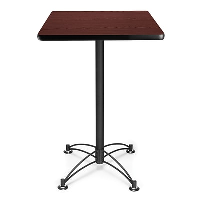 OFM 41 x 23 3/4 x 23 3/4 Square Laminate Black Base Cafe Height Table, Mahogany