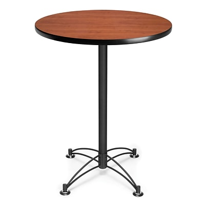 OFM 41 1/2 x 30 x 30 Round Laminate Black Base Cafe Height Table, Cherry