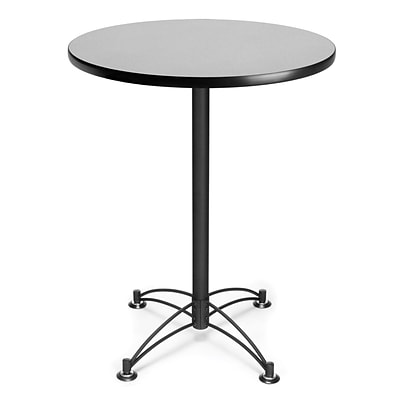 OFM 41 1/2 x 30 x 30 Round Laminate Black Base Cafe Height Table, Gray Nebula