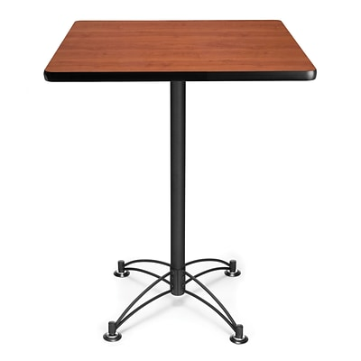 OFM 41 x 30 x 30 Square Laminate Black Base Cafe Height Table, Cherry