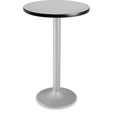 OFM 41 1/4 x 23 3/4 x 23 3/4 Round Laminate Flip-Top Folding Cafe Height Table, Gray Nebula