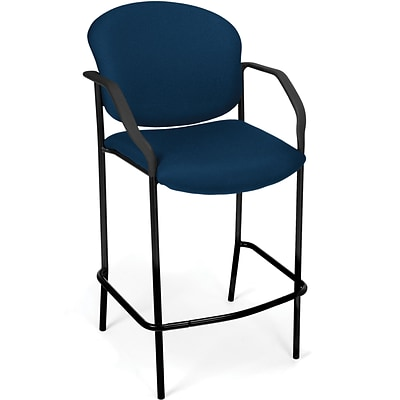 OFM Manor Fabric Cafe Height Chair With Arms, Navy
