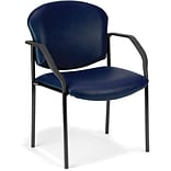 OFM Manor Series Guest and Reception Chair with Arms, Anti-Microbial/Anti-Bacterial Vinyl, Navy, (40